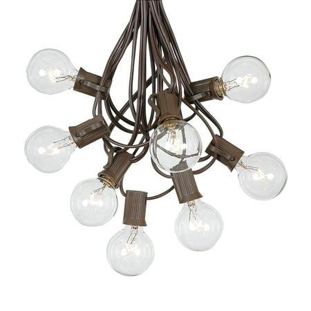 Clear Globe String Lights (g40 patio string lights with 25 clear globe bulbs  outdoor string lights  market bistro caf hanging string lights  patio garden umbrella globe lights - brown wire -)
