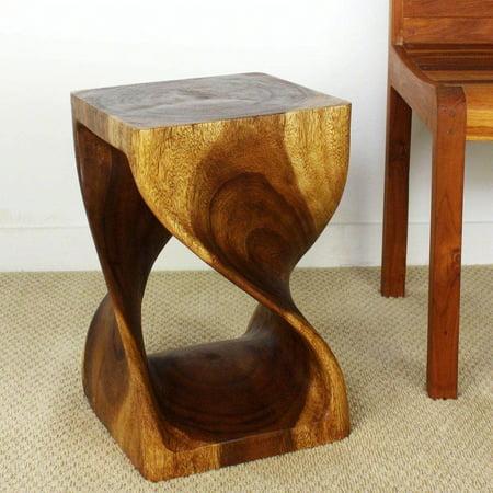 Friendly Wood - HAUSSMANN Twist Stool 12x12x18 inch H Sust Monkey Pod Wood w Eco Friendly Livos Walnut Oil