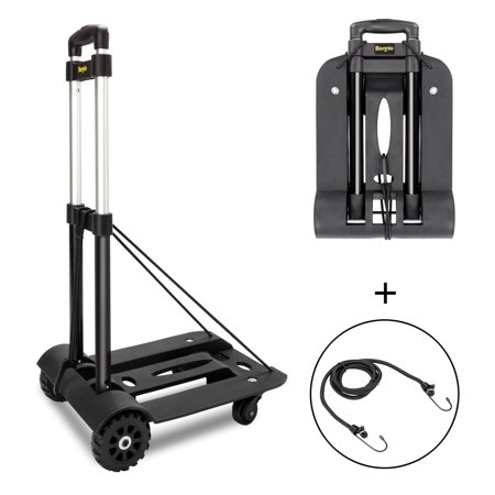 UBesGoo 45kg/100lbs Folding Hand Truck,  Heavy Duty Collapsible 4 Wheels Solid Construction Utility Dolly Cart Trolley, for Pushing Luggage, W/ 2 PCS Rope ()