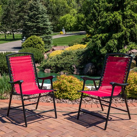 Phenomenal Sunnydaze Folding Suspension Outdoor Lounge Chair Set Of 2 Mesh Lawn Chairs Red Pabps2019 Chair Design Images Pabps2019Com