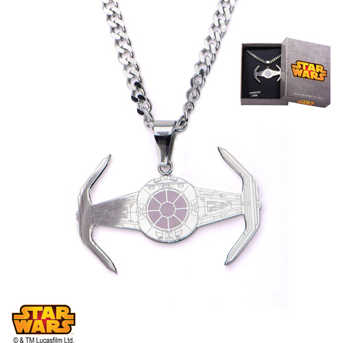 Disney Stainless Steel Star Wars X1 Tie Fighter Pendant, 24""