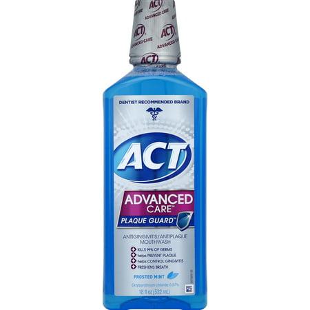 ACT Advanced Care Plaque Guard Antigingivits/Antiplaque Mouthwash, Frosted Mint, 18oz