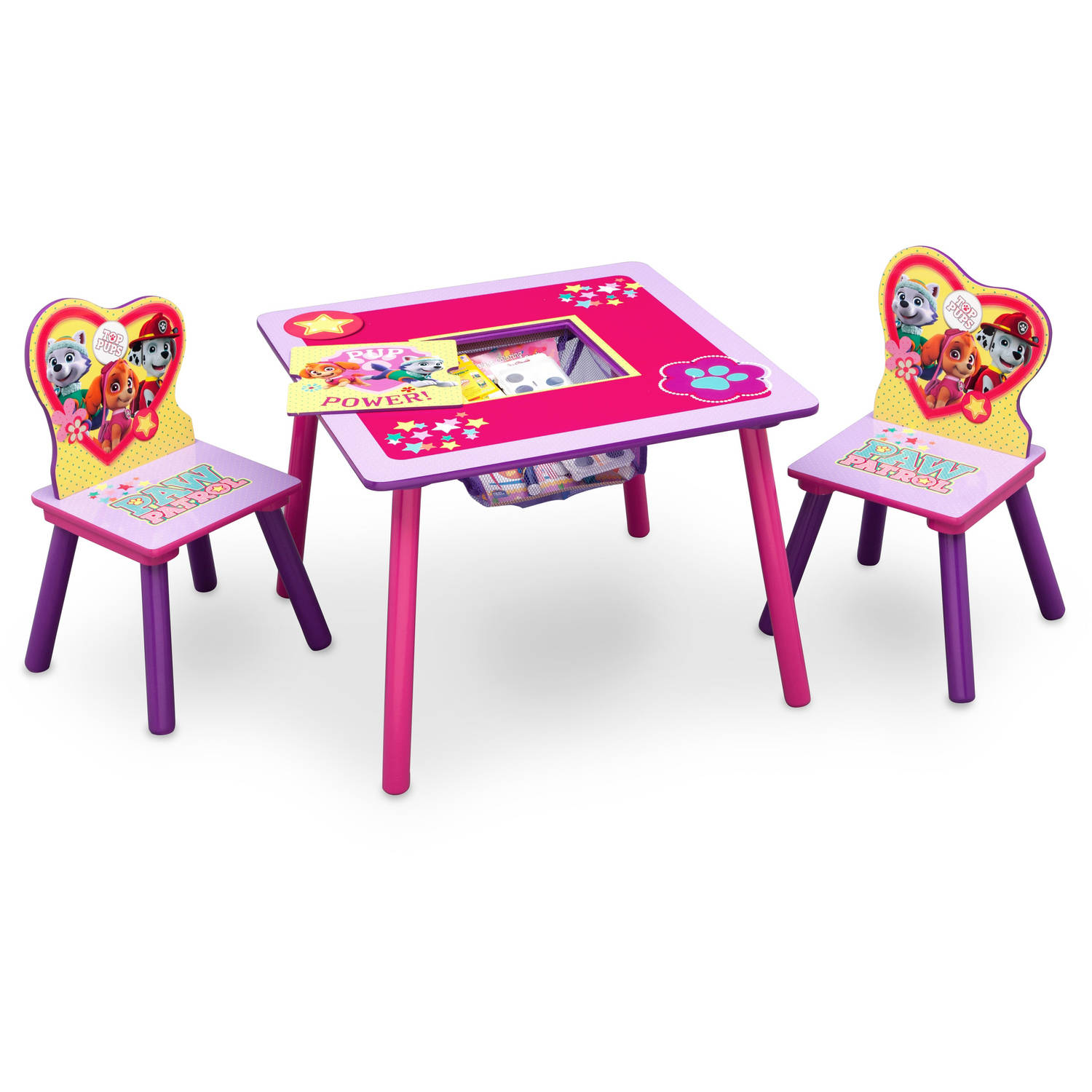 Paw Patrol Skye and Everest Toddler Table and Chair Set with Storage  sc 1 st  Walmart : toddler tables and chair sets - pezcame.com