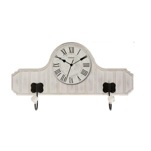 Beadboard Wood QA Wall Clock with Metal Hooks