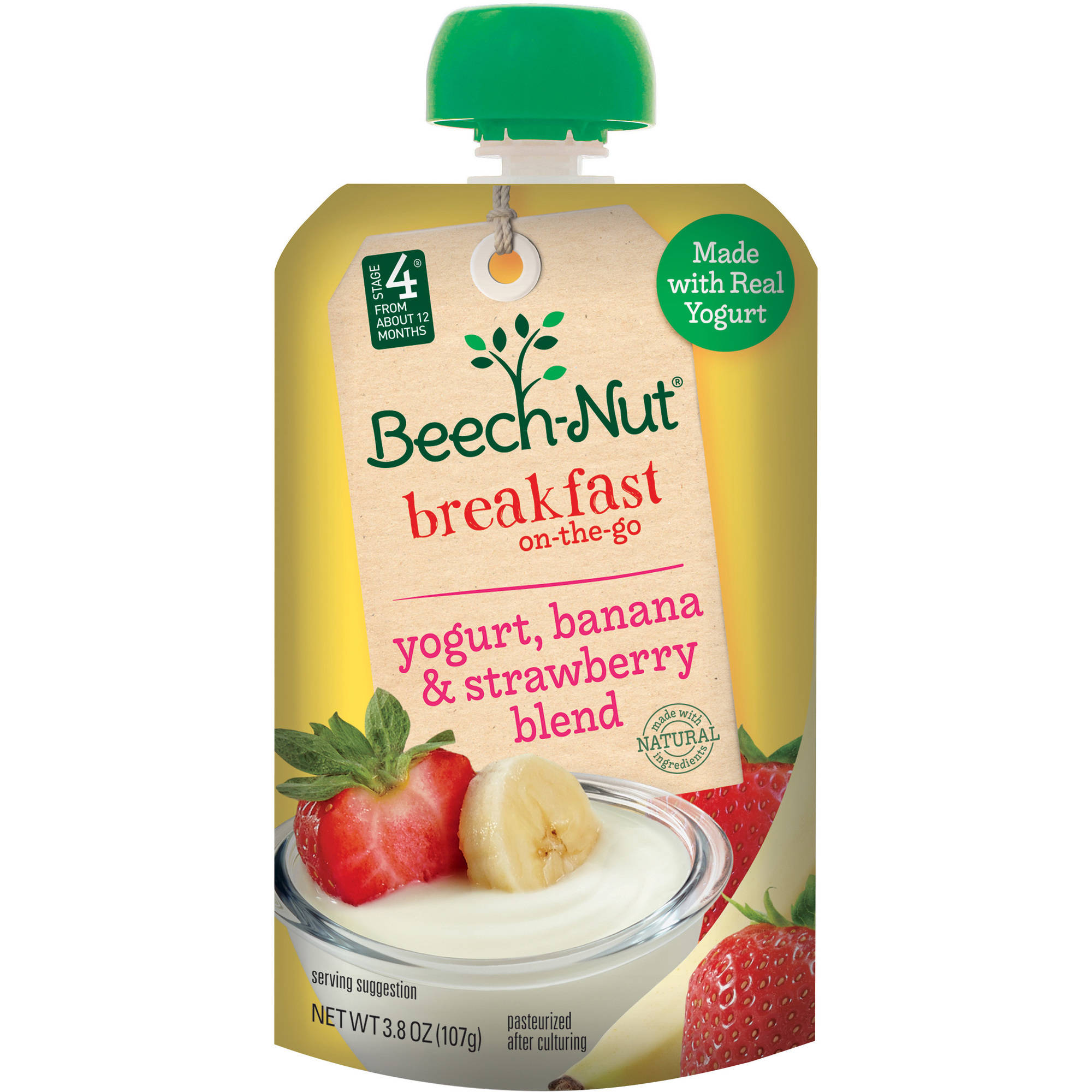 Beech-Nut Stage 4 Breakfast On-The-Go Yogurt, Banana & Strawberry Blend, 3.8 OZ