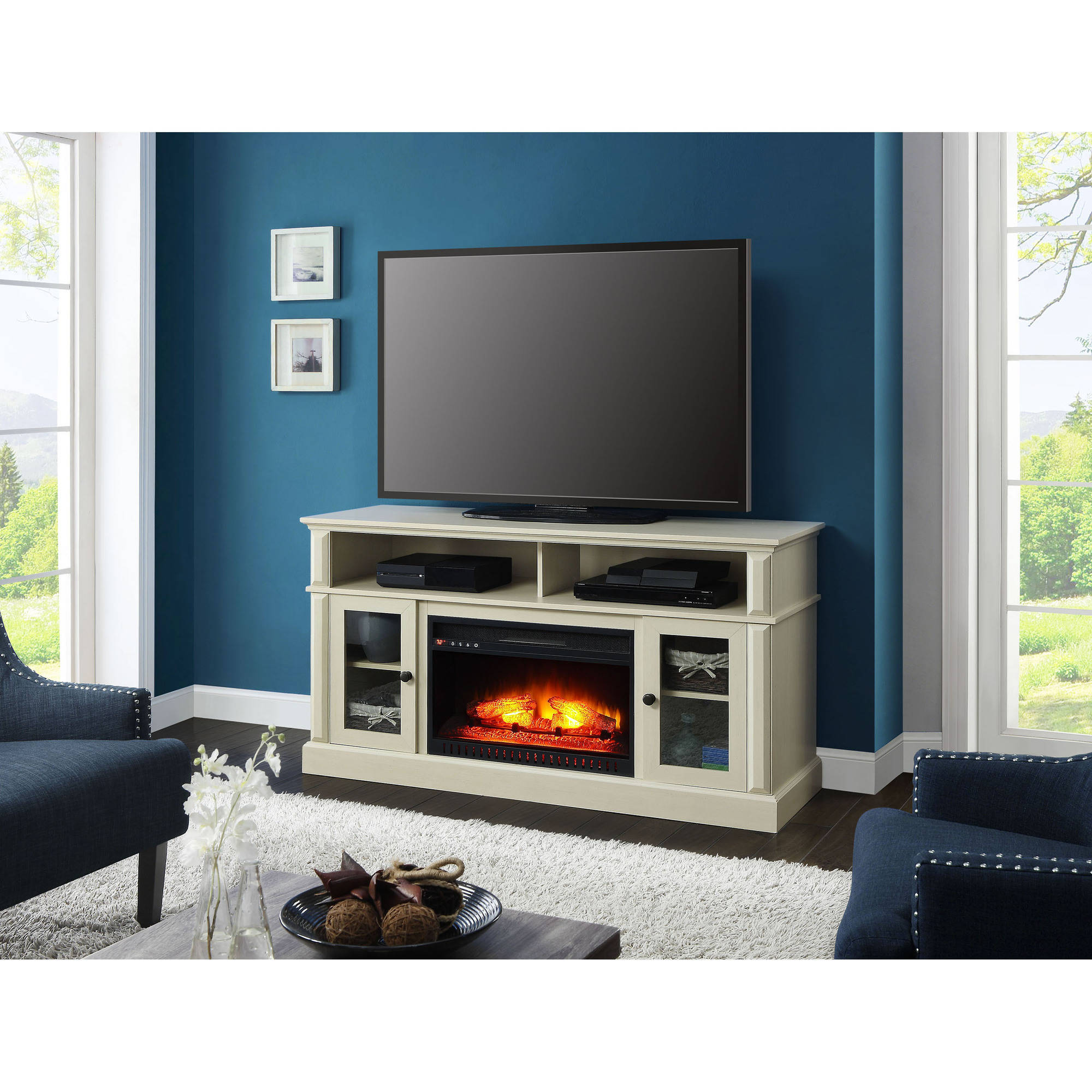 Flat Screen Tv Stand White Wood Entertainment Media Fireplace