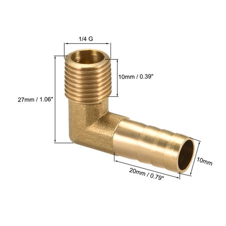 "Brass Barb Hose Fitting 90 Degree Elbow 10mm Barbed x 1/4"" G Male Pipe - image 1 of 5"