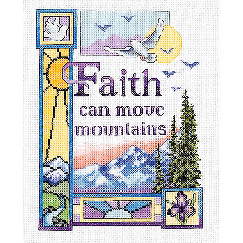 "Faith Can Move Mountains Counted Cross Stitch Kit, 7"" x 9"", 14-Count"