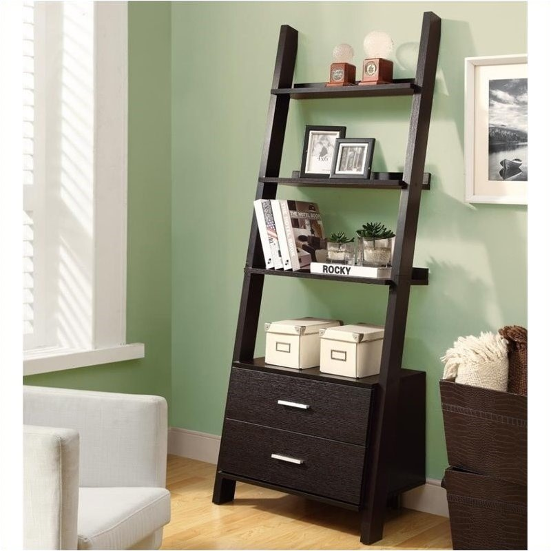 """Pemberly Row 69"""" Ladder Bookcase with 2 Storage Drawers in Cappuccino"""