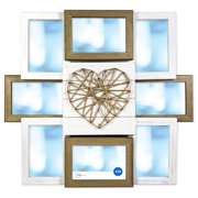 """Better Homes & Gardens 17.99"""" x 1.97"""" x 20.08"""" String Heart Rustic 8-Opening Collage Frame"""