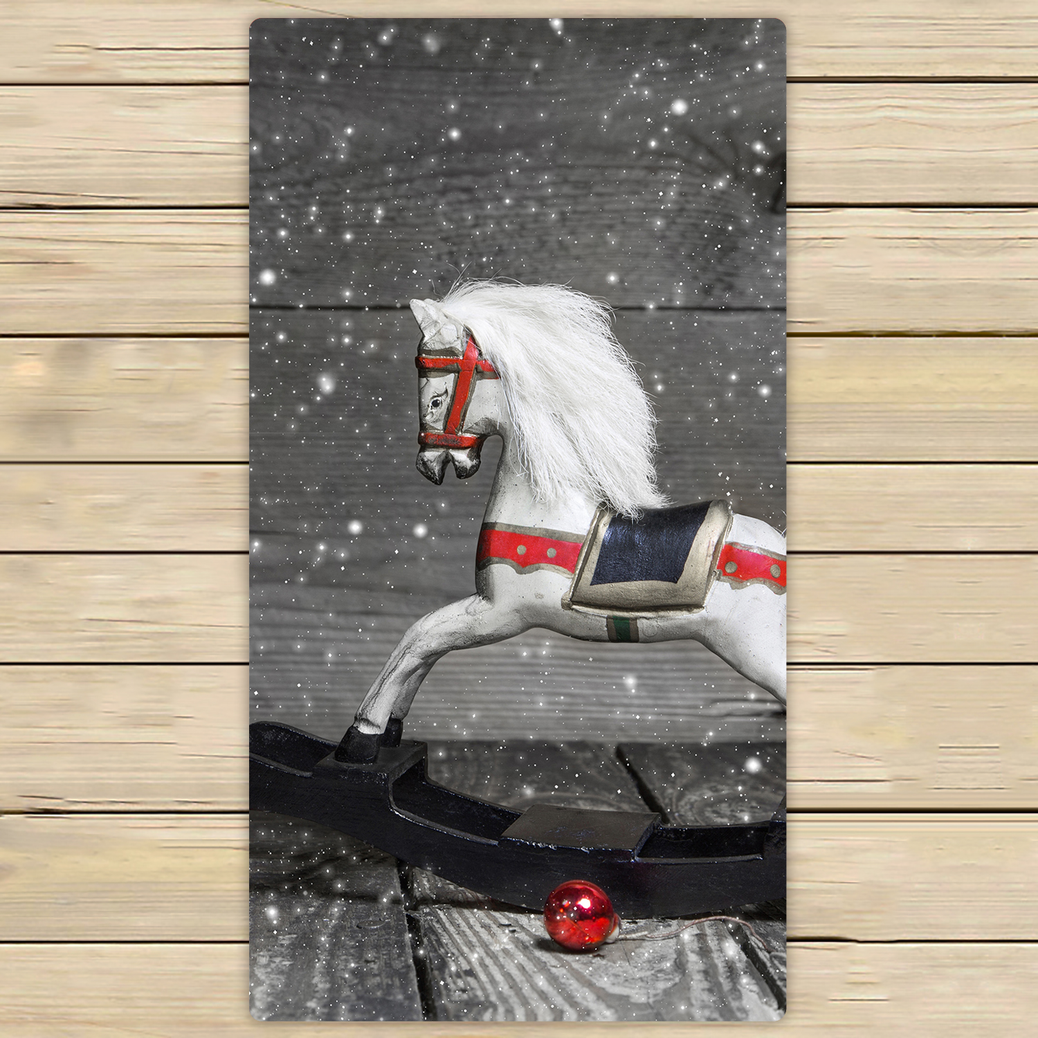 YKCG Old Wooden Horse Shabby Chic Christmas Red Balls Hand ...