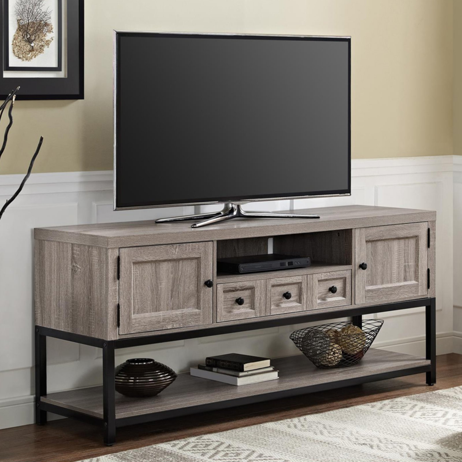 "Ameriwood Home Barrett Mutlipurpose TV Console for TVs up to 70"", Weathered Oak"