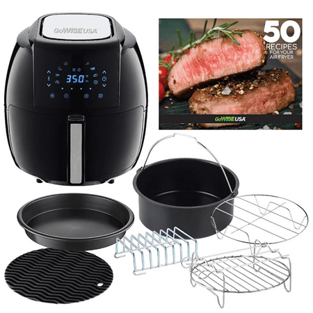 GoWISE USA 5.8-Quarts 8-in-1 Air Fryer XL with 6-PC Accessory Set + 50 Recipes for your Air Fryer Book