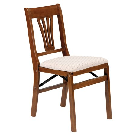 Classic hardwood Urn Back Folding chair - Fruitwood and blush upholstery