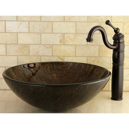 Kingston Brass Dark Bronze Tempered Glass Vessel Bathroom Sink Bronze Square Kitchen Sink