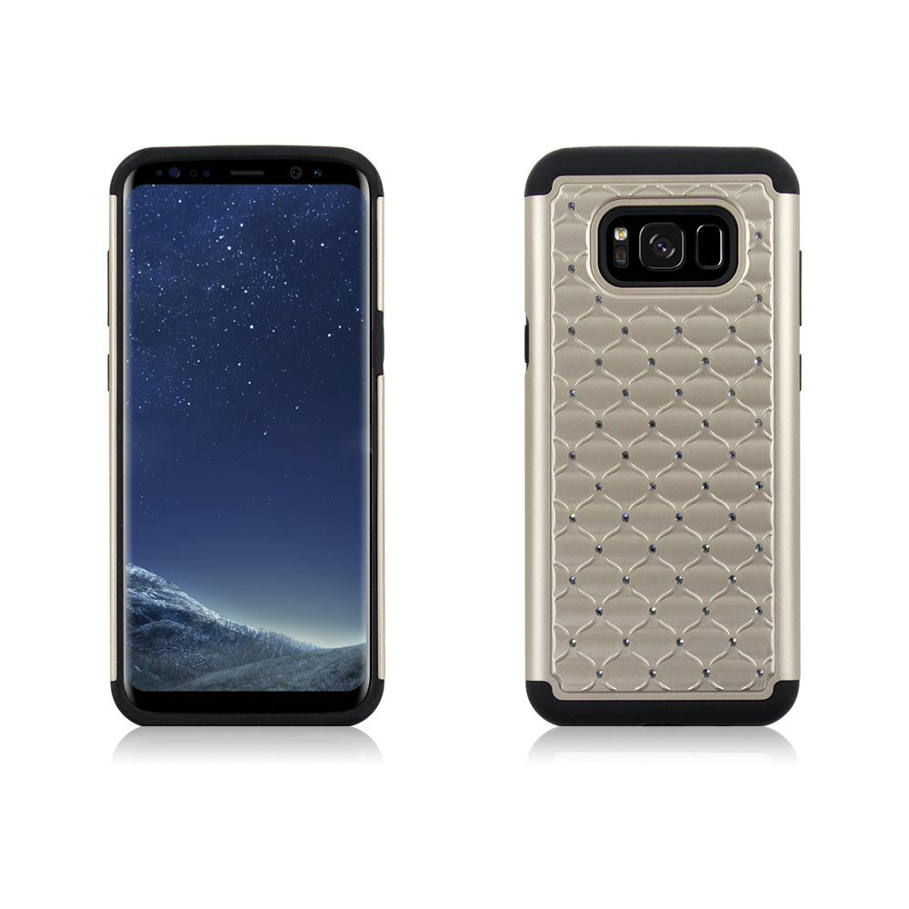 MUNDAZE Gold Diamond Double Layered Case For Samsung Galaxy S8 Plus Phone