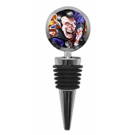 Graffiti Street Wall Art Style Evil Vampire with a Wine Glass - Metal Wine Bottle Stopper with Vaccum