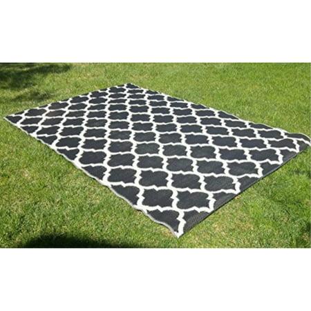 Santa Barbara Collection 100 Recycled Plastic Outdoor Reversable Area Rug Rugs White Black Trellis San1001blk