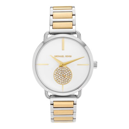 - Women's MK3679 'Portia' Stainless Steel Crystal Pave White Dial Bracelet Watch