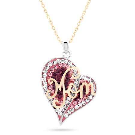 18K Gold Plated and Sterling Silver Heart Multi Color Crystal MOM Pendant Necklace 18 Inches