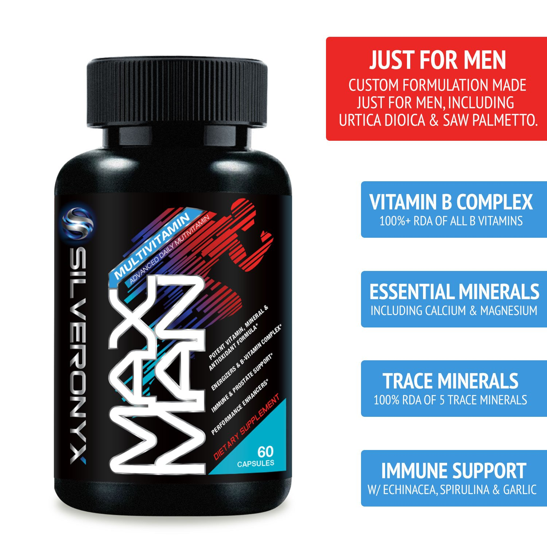 Multivitamin for Men - Max Potency Vitamins A C D E B1 B2 B3 B5 B6 B12,  Palmetto, Zinc, Selenium, Calcium, Lutein  Supports Energy, Stress, Heart,