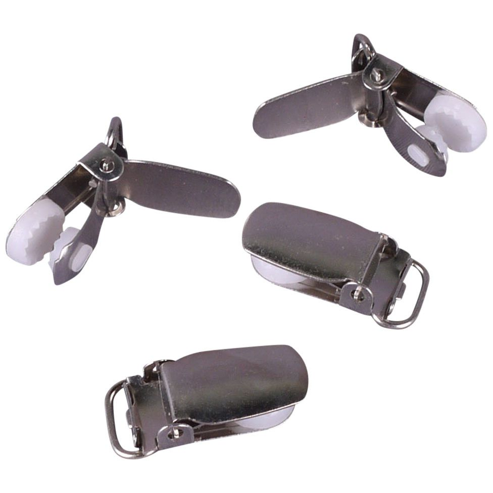 "Porcelynne Nickle Free Metal Suspender Clips/Pacifier Clips with Plastic Insert - 3/8"" or 10mm - 2 Pairs (4 Pieces)"