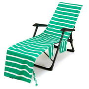 Mikilon Stripe Chair Cover Printed Beach Towel Polyester Cotton Lounge Chair Towel