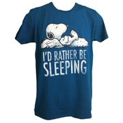 Snoopy I'd Rather Be Sleeping Classic Distressed Logo Heather Teal Adult T-Shirt (Small) by
