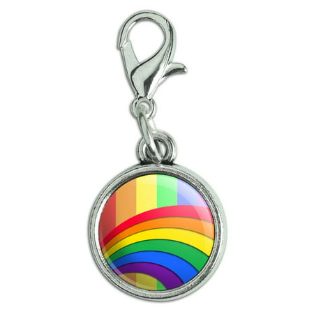 - Double Rainbow Pride Arc Antiqued Bracelet Pendant Zipper Pull Charm with Lobster Clasp