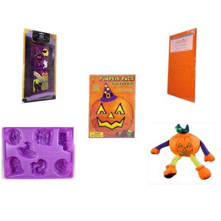 Halloween Fun Gift Bundle [5 Piece] - Happy  Door Panel - Bright Pumpkin Orange Plastic Table Cover  - Darice Pumpkin Face Fun Felt Kit - Witch - Happy  Jell-O Mold - Pumpkin Ornament Plush 7.5