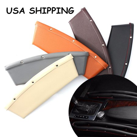 Pocket Console (2x High Quality PU Leather Car Seat Lip Slit Pocket Storage Edged Catcher Catch Caddy Box Automotive Organizer Console Side Gap Filler For Cell Phone, Credit Cards, Money, Keys)