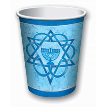 Chanukah 9 Oz Cups - Table Ware Separates - 1 pack of 8 cups - Hanukkah Table