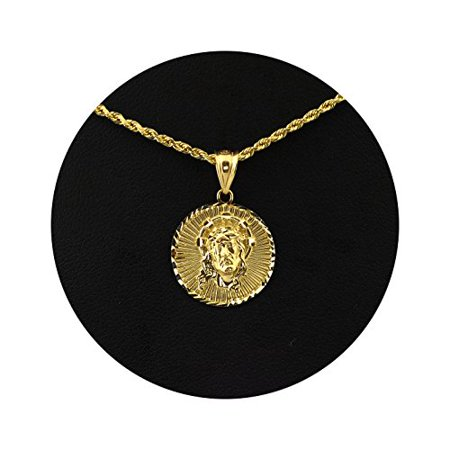 LoveBling 10K Yellow Gold Jesus Head Medallion Diamond Cut Charm Pendant (0.93