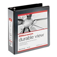 """Office Depot® Brand Durable View D-Ring Binder, 3"""" Rings, 39% Recycled, Black"""