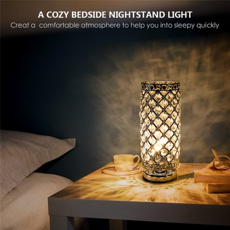 HURRISE Modern Crystal Table Lamp, Table Light with Sliver Lamp Shade Night Light Fixture for Living Room Bedroom Kitchen - image 3 of 7