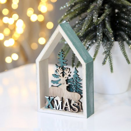 Christmas Gift Desk Wooden Cabin Decoration Macaron Style Chalet Home Decoration (Macaron Party Supplies)