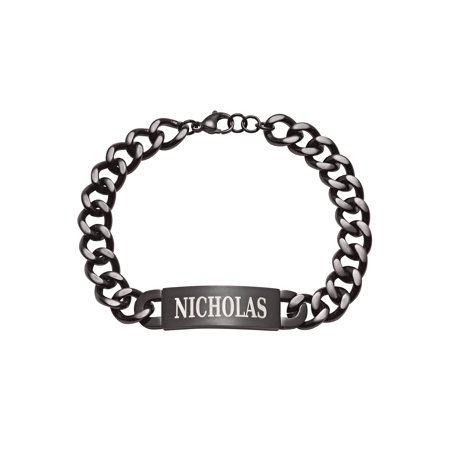 Personalized Men's Black Stainless Steel ID Bracelet - Personalized Slap Bracelets