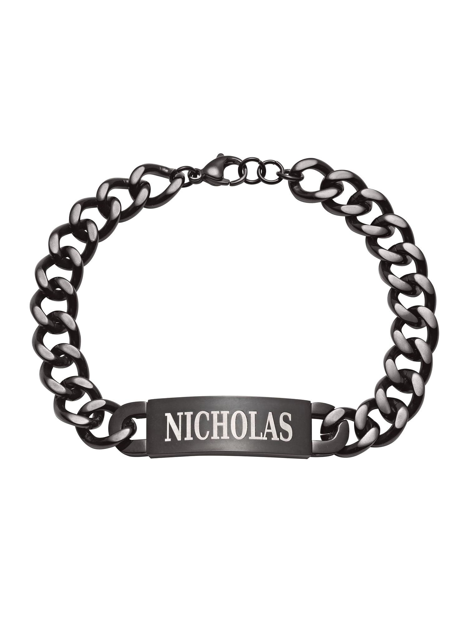 Personalized Men's Black Stainless Steel ID Bracelet