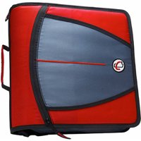 Case It 1580681 Mighty Zip Tab O-Ring Binder with Tabs - Red, 3 in.
