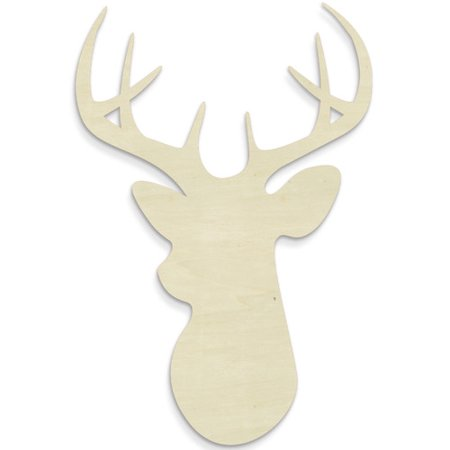 Unfinished Wood Co  Deer Head Wall D Cor
