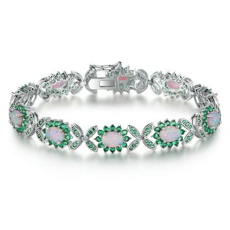Lab-Created White Fire Opal & Emerald Butterfly Tennis Bracelet in Rhodium Plating