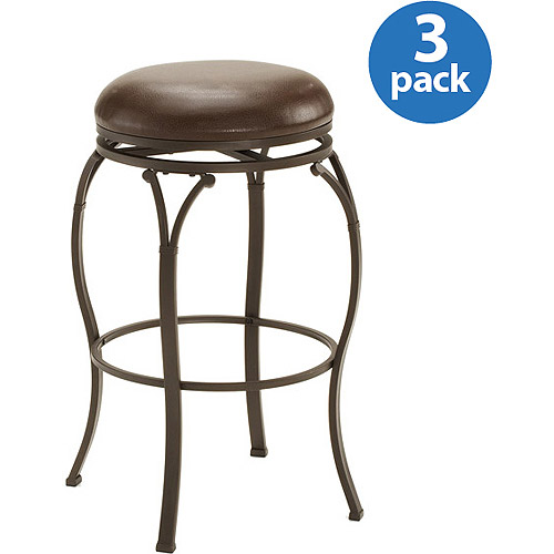 Hillsdale Lakeview Metal Backless Swivel Barstool, Set of 3, Copper