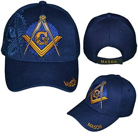 Mason Cap Blue Freemason Navy Baseball Hat Masons Compass Square ... b6d2470b0de3