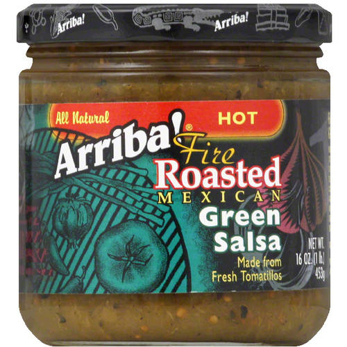 Arriba! Hot Fire Roasted Mexican Green Salsa, 16 oz, (Pack of 6)