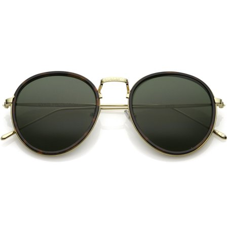 - Modern Round Sunglasses Engraved Slim Metal Arms Neutral Color Flat Lens (Tortoise Gold / Green)