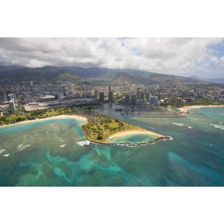 USA Hawaii Oahu Ala Wai Yacht Basin and Ala Moana Beach Park Honolulu Aerial view of Magic Island Canvas Art - Ron Dahlquist  Design Pics (34 x (Ala Moana Center Honolulu)