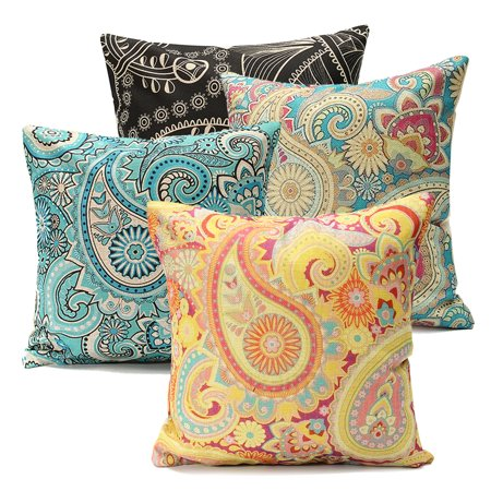 Meigar Bohemia Paisley Vortex Couch Cushion Pillow Covers 18x18 Square Zippered Cotton Linen Standard Decorative Throw Pillow Covers Slip Case Protector for Chair Seat Sofa Patio ()