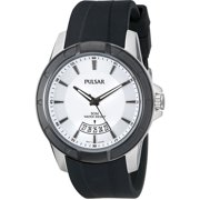 Mens Analog Stainless Watch - Black Polyurethane Strap - Silver Dial - PS9277