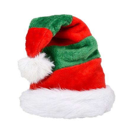 df6974241a0dc Christmas Elf Striped Plush Faux Fur Trim Santa Hat Costume Accessory -  Walmart.com