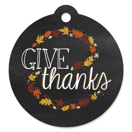 Give Thanks - Die-Cut Thanksgiving Party Favor Tags (Set of 20) - Thanksgiving Party Games